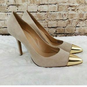 Sole society Kella gold toe pumps